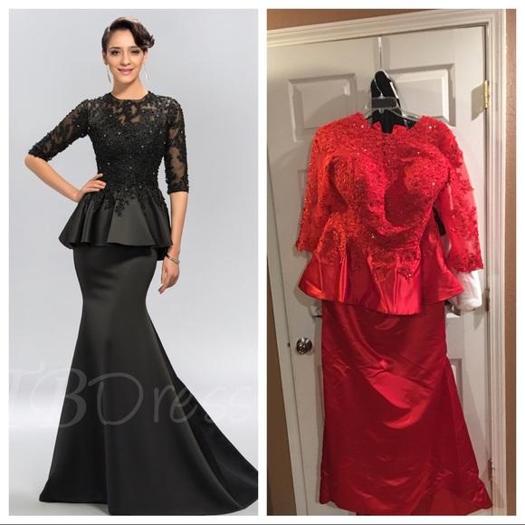 Dresses Nwot Red Peplum Fishtail Formal Dress Poshmark